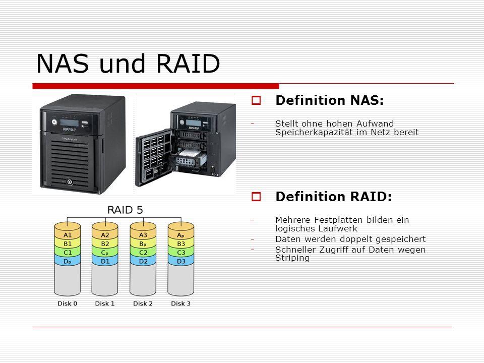 NAS und RAID Definition NAS: -Stellt ohne hohen Aufwand Speicherkapazität im Netz bereit Definition RAID: -Mehrere Festplatten bilden ein logisches La