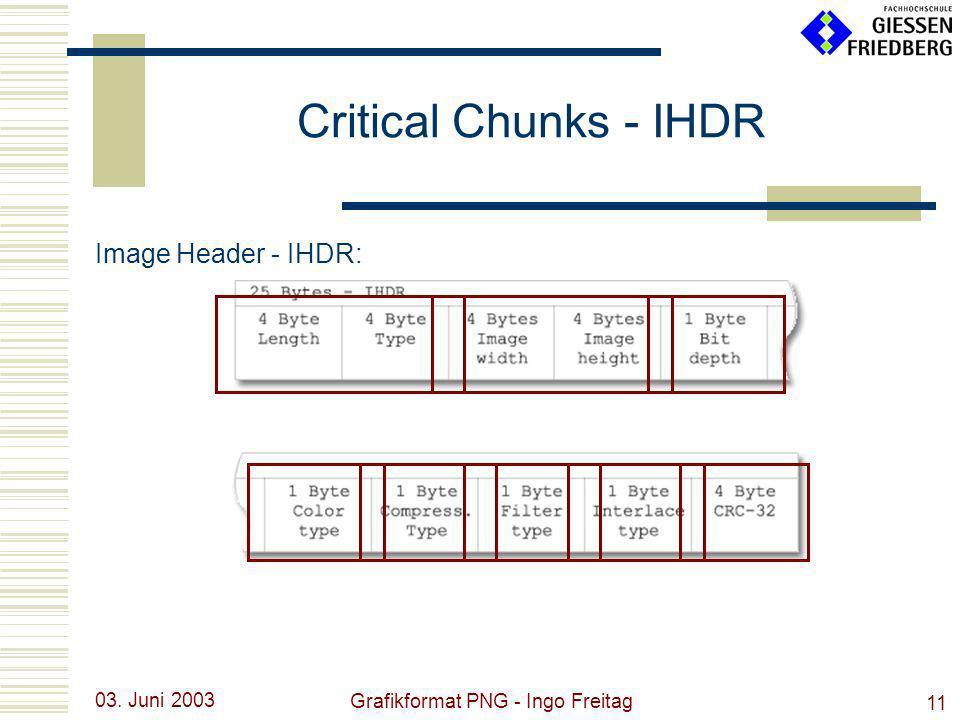 03. Juni 2003 Grafikformat PNG - Ingo Freitag 11 Critical Chunks - IHDR Image Header - IHDR: