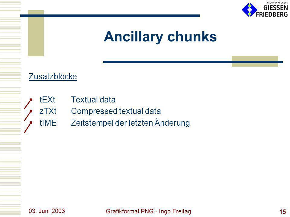 03. Juni 2003 Grafikformat PNG - Ingo Freitag 15 Ancillary chunks Zusatzblöcke tEXtTextual data zTXtCompressed textual data tIMEZeitstempel der letzte