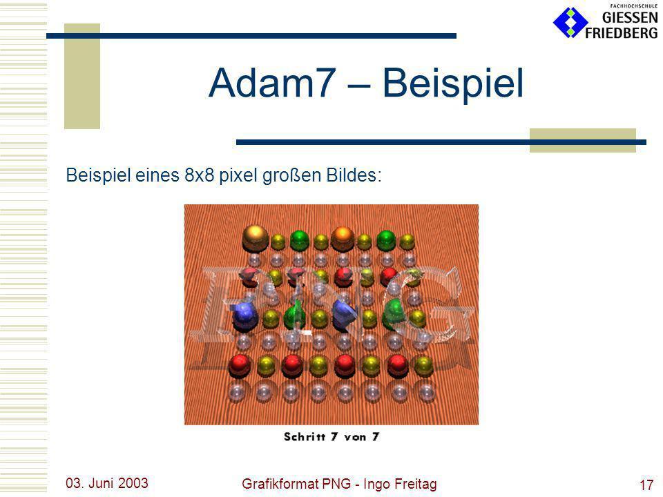 03. Juni 2003 Grafikformat PNG - Ingo Freitag 17 Adam7 – Beispiel Beispiel eines 8x8 pixel großen Bildes: