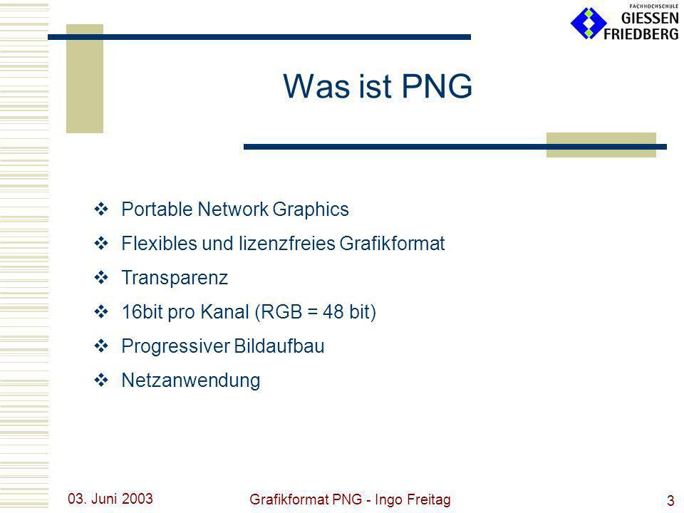 03. Juni 2003 Grafikformat PNG - Ingo Freitag 3 Was ist PNG Portable Network Graphics Flexibles und lizenzfreies Grafikformat Transparenz 16bit pro Ka