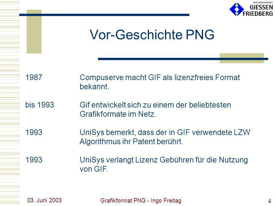 03. Juni 2003 Grafikformat PNG - Ingo Freitag 4 1987Compuserve macht GIF als lizenzfreies Format bekannt. bis 1993Gif entwickelt sich zu einem der bel