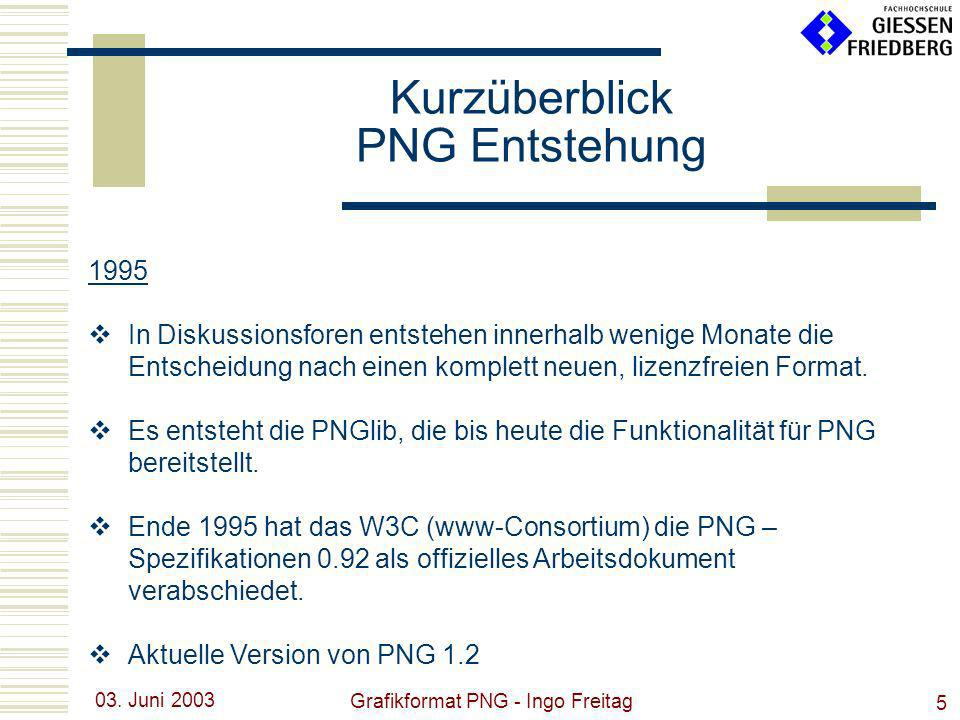 03. Juni 2003 Grafikformat PNG - Ingo Freitag 5 1995 In Diskussionsforen entstehen innerhalb wenige Monate die Entscheidung nach einen komplett neuen,