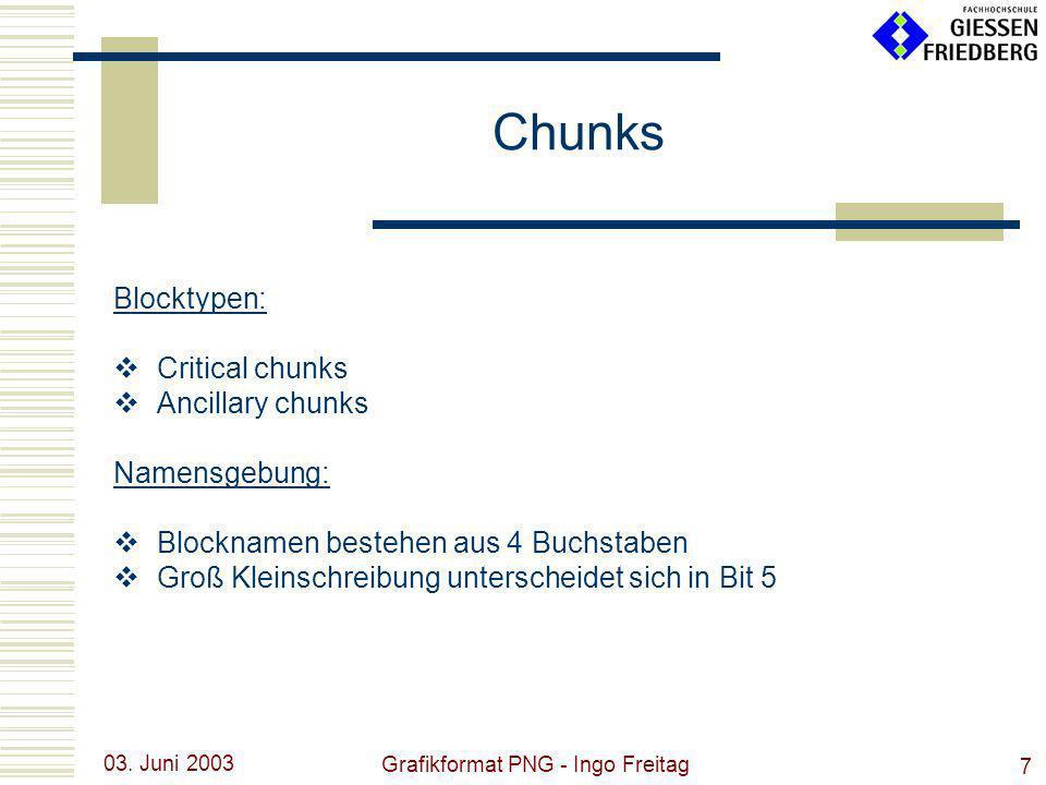 03. Juni 2003 Grafikformat PNG - Ingo Freitag 7 Blocktypen: Critical chunks Ancillary chunks Namensgebung: Blocknamen bestehen aus 4 Buchstaben Groß K