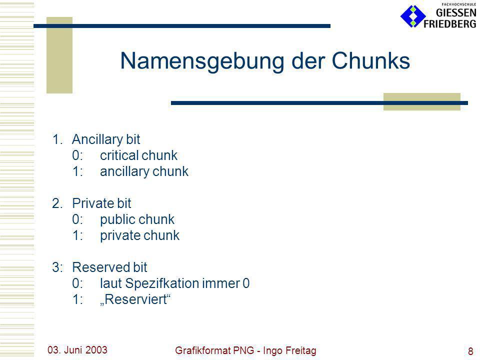 03. Juni 2003 Grafikformat PNG - Ingo Freitag 8 1.Ancillary bit 0:critical chunk 1:ancillary chunk 2.Private bit 0: public chunk 1:private chunk 3:Res