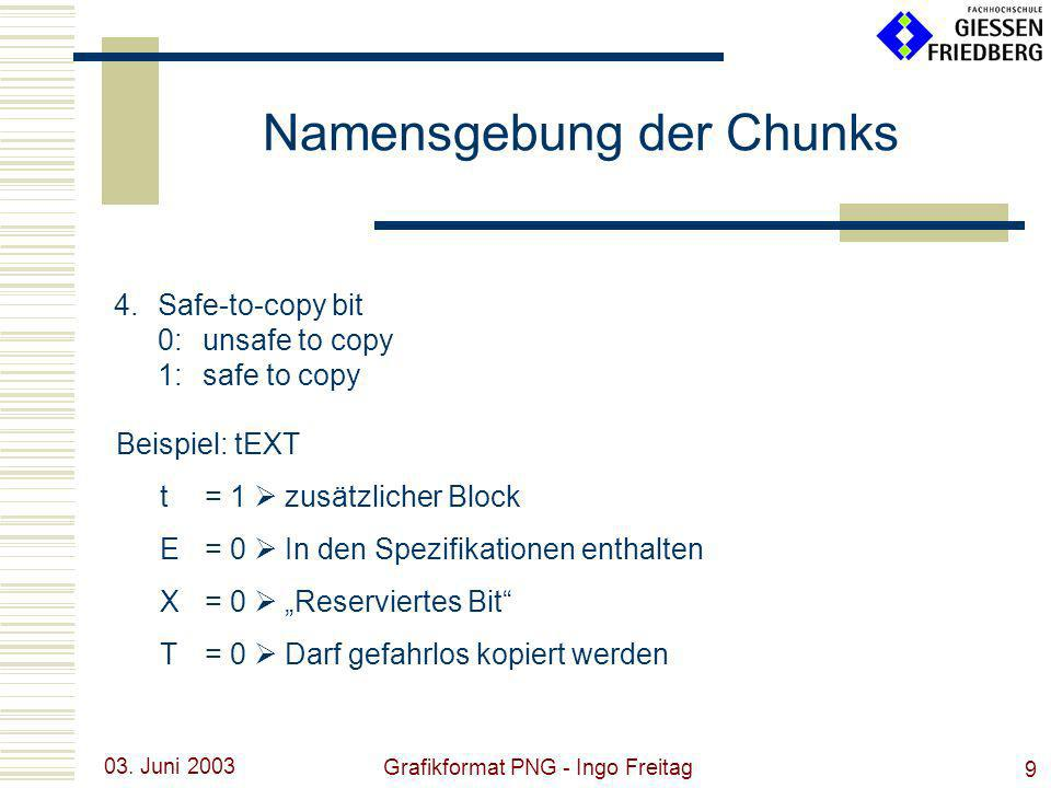 03. Juni 2003 Grafikformat PNG - Ingo Freitag 9 4.Safe-to-copy bit 0:unsafe to copy 1:safe to copy Namensgebung der Chunks Beispiel: tEXT t= 1 zusätzl