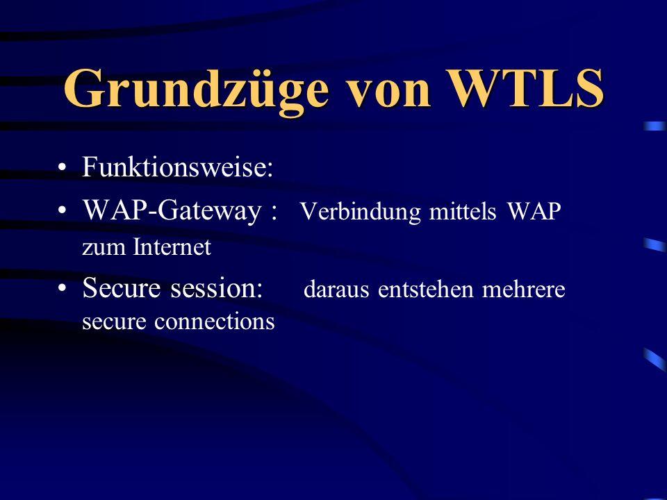 Grundzüge von WTLS Funktionsweise: WAP-Gateway : Verbindung mittels WAP zum Internet Secure session: daraus entstehen mehrere secure connections