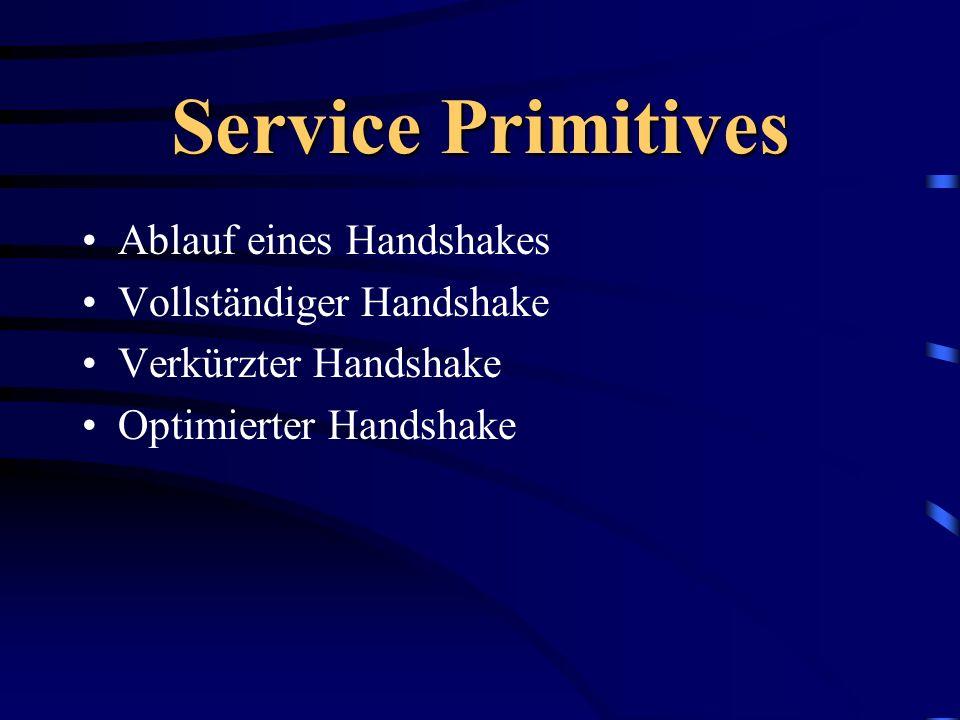 Service Primitives Ablauf eines Handshakes Vollständiger Handshake Verkürzter Handshake Optimierter Handshake
