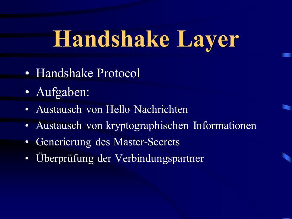 Handshake Layer Handshake Protocol Aufgaben: Austausch von Hello Nachrichten Austausch von kryptographischen Informationen Generierung des Master-Secr
