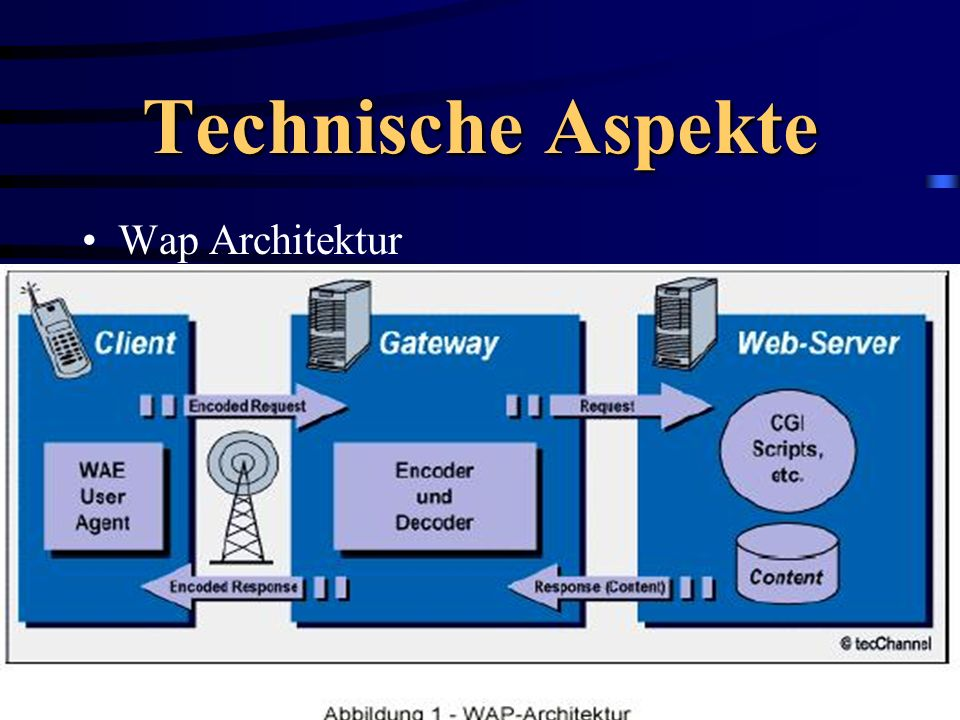 Protokolle WAE (Wireless Application Environment User Agent) WSP (Wireless Session Protocol) WTP(Wireless Transaction Protocol) WTLS (Wireless Transport Layer Security)WTLS (Wireless Transport Layer Security) WDP(Wireless Datagram Protocol)WDP(Wireless Datagram Protocol)