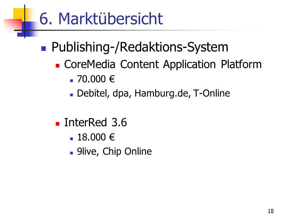 18 6. Marktübersicht Publishing-/Redaktions-System CoreMedia Content Application Platform 70.000 Debitel, dpa, Hamburg.de, T-Online InterRed 3.6 18.00