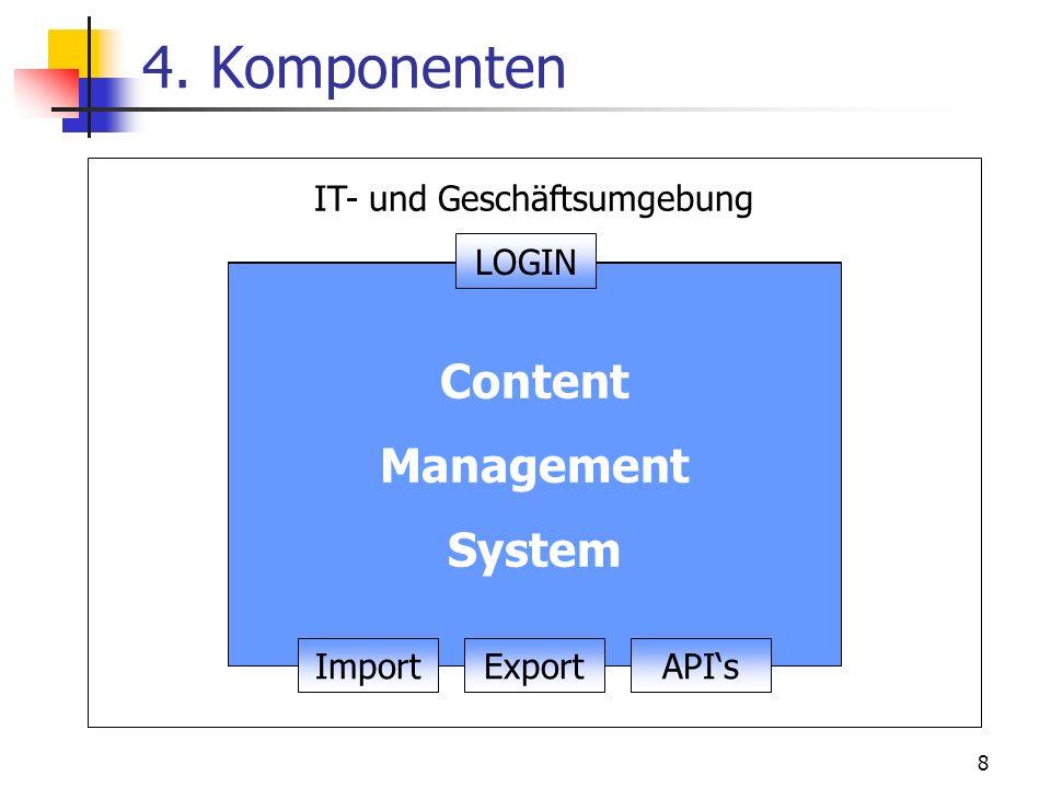 8 Benutzer- und Zugriffsverwaltung 4. Komponenten Workflow- Management Asset- Management Darstellung Inhalt Content Management System ImportAPIsExport