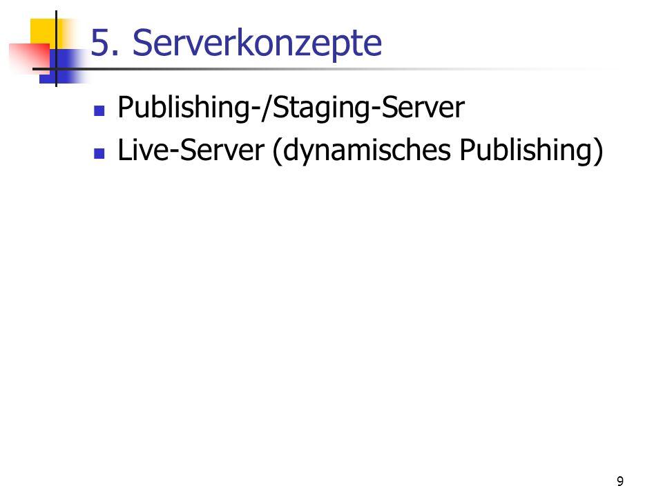 9 5. Serverkonzepte Publishing-/Staging-Server Live-Server (dynamisches Publishing)
