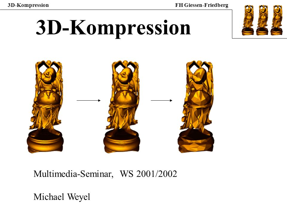 3D-KompressionFH Giessen-Friedberg 3D-Kompression Multimedia-Seminar, WS 2001/2002 Michael Weyel