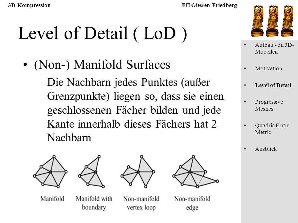3D-KompressionFH Giessen-Friedberg Level of Detail ( LoD ) (Non-) Manifold Surfaces –Die Nachbarn jedes Punktes (außer Grenzpunkte) liegen so, dass si