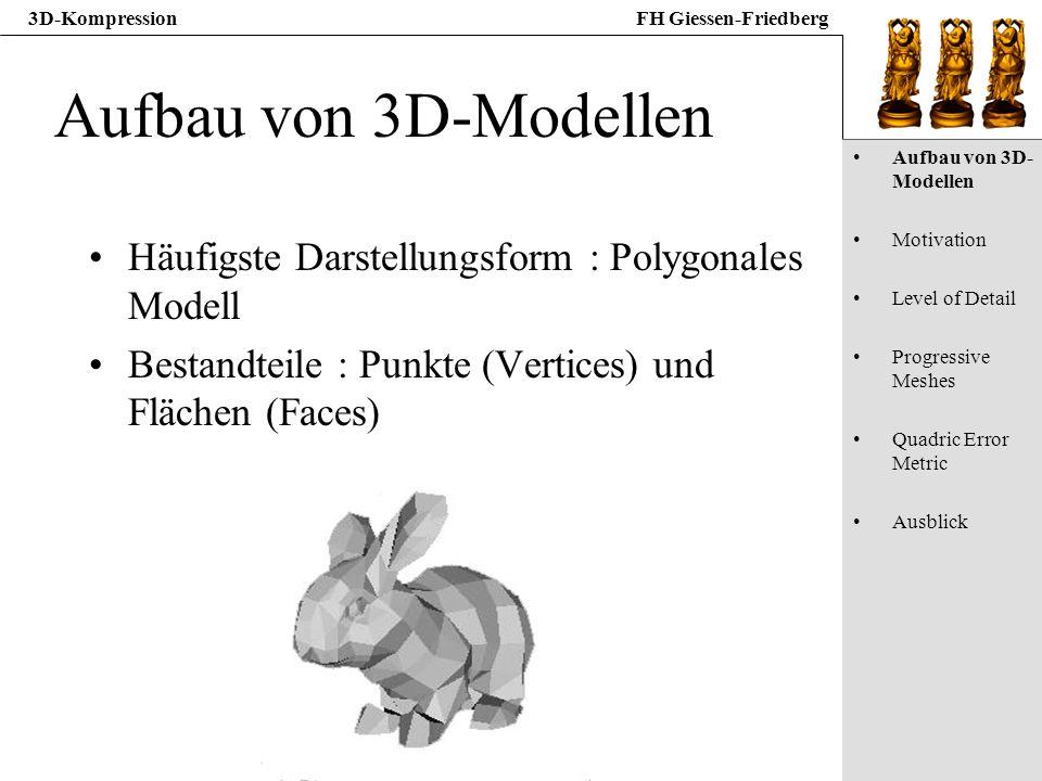3D-KompressionFH Giessen-Friedberg Aufbau von 3D-Modellen Häufigste Darstellungsform : Polygonales Modell Bestandteile : Punkte (Vertices) und Flächen