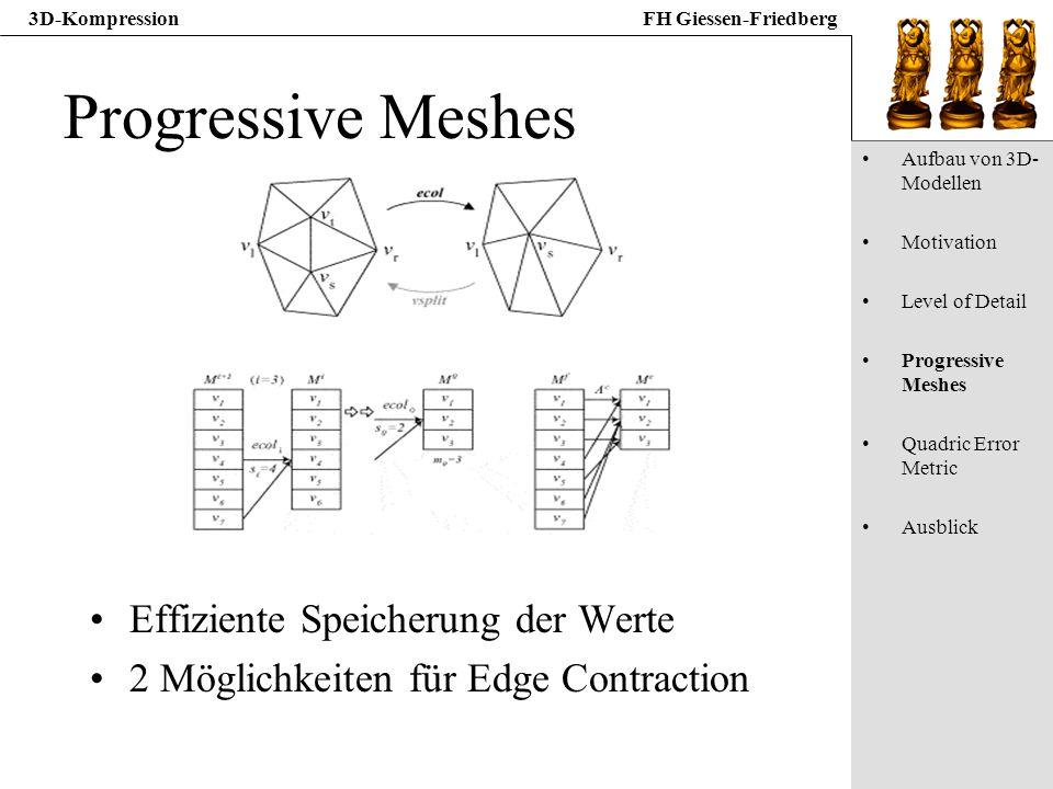 3D-KompressionFH Giessen-Friedberg Progressive Meshes Effiziente Speicherung der Werte 2 Möglichkeiten für Edge Contraction Aufbau von 3D- Modellen Mo
