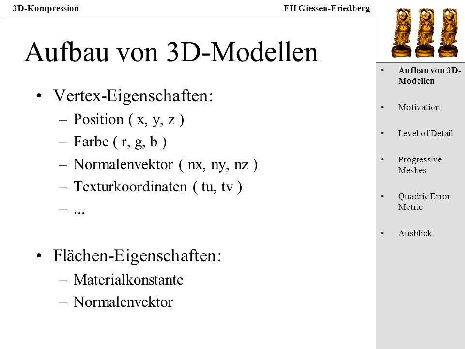 3D-KompressionFH Giessen-Friedberg Aufbau von 3D-Modellen Vertex-Eigenschaften: –Position ( x, y, z ) –Farbe ( r, g, b ) –Normalenvektor ( nx, ny, nz
