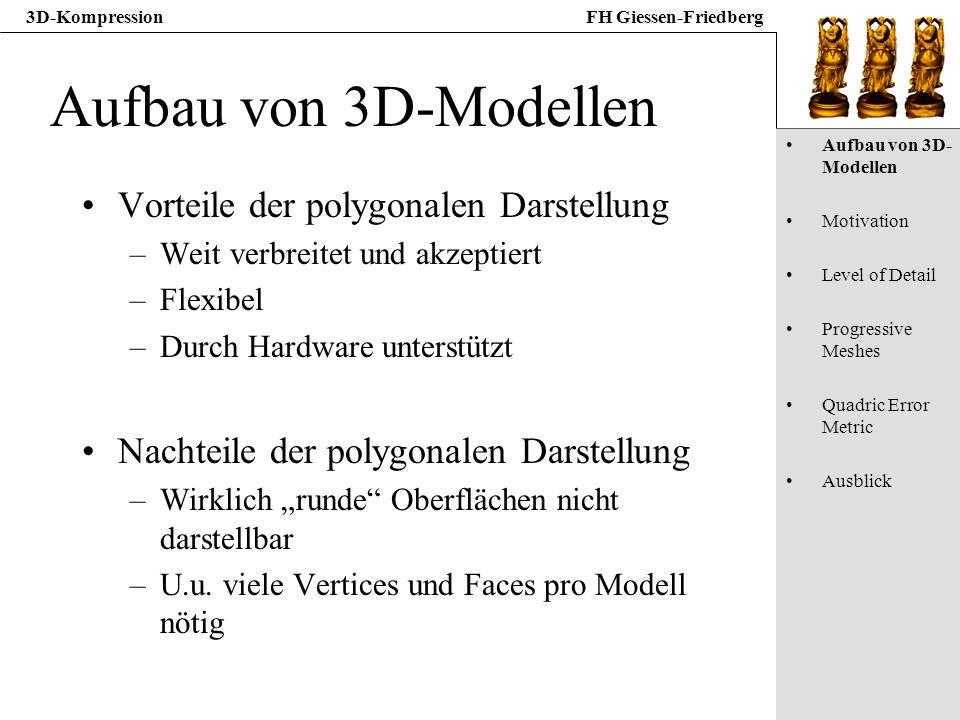 3D-KompressionFH Giessen-Friedberg Aufbau von 3D-Modellen Vorteile der polygonalen Darstellung –Weit verbreitet und akzeptiert –Flexibel –Durch Hardwa
