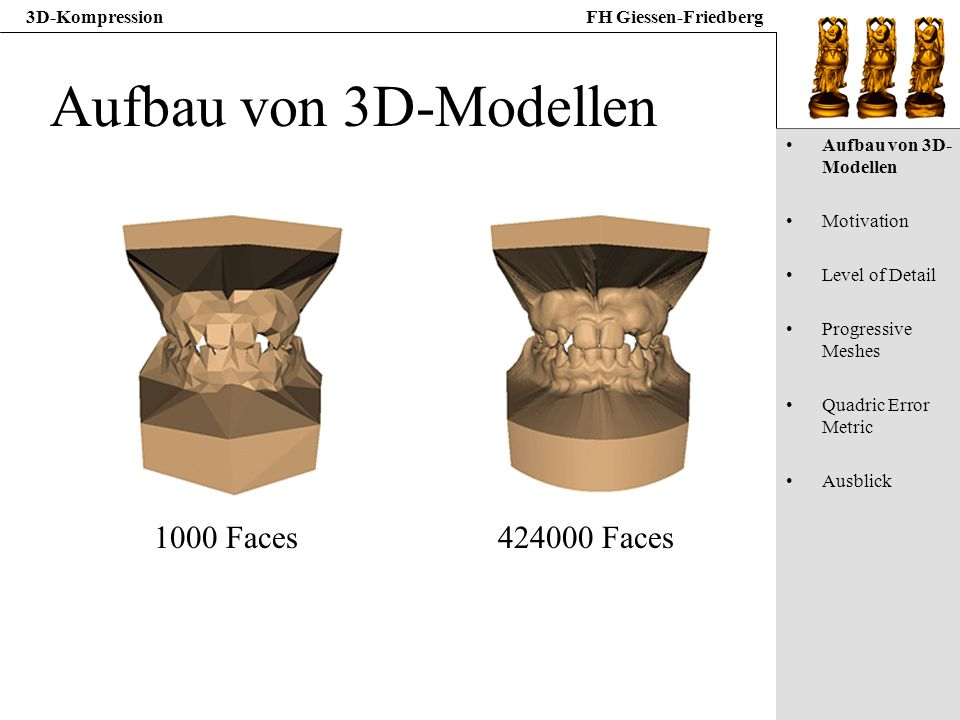 3D-KompressionFH Giessen-Friedberg Aufbau von 3D-Modellen 1000 Faces424000 Faces Aufbau von 3D- Modellen Motivation Level of Detail Progressive Meshes