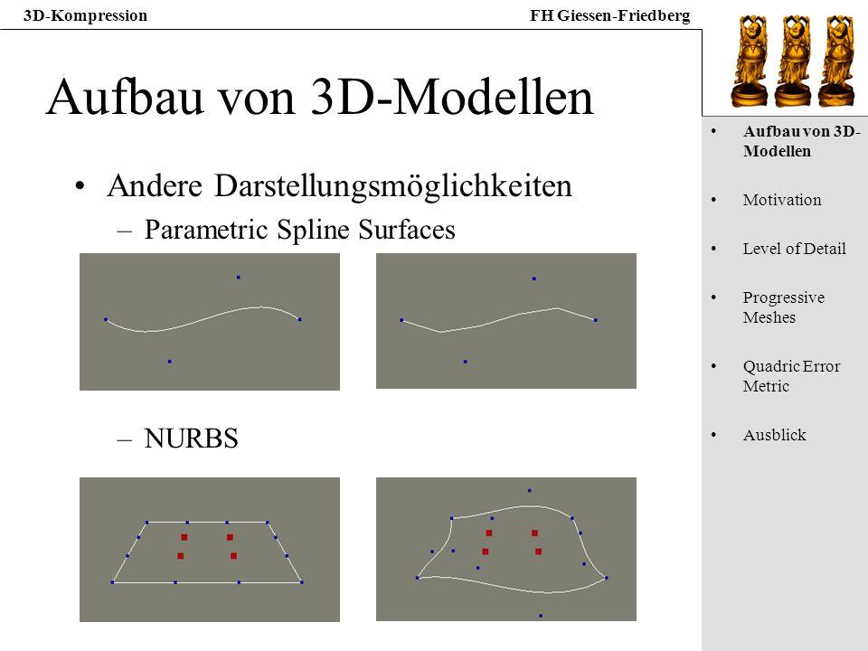 3D-KompressionFH Giessen-Friedberg Aufbau von 3D-Modellen Andere Darstellungsmöglichkeiten –Parametric Spline Surfaces –NURBS Aufbau von 3D- Modellen