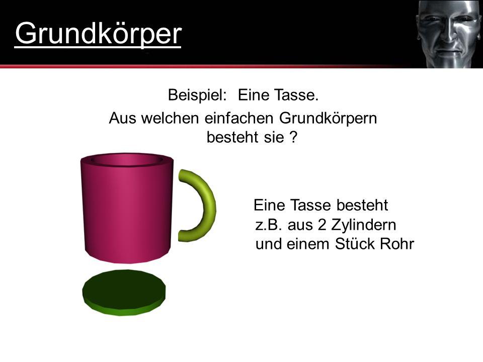 Eine Tasse besteht z.B. aus 2 Zylindern und einem Stück Rohr Beispiel: Eine Tasse. Aus welchen einfachen Grundkörpern besteht sie ? Grundkörper
