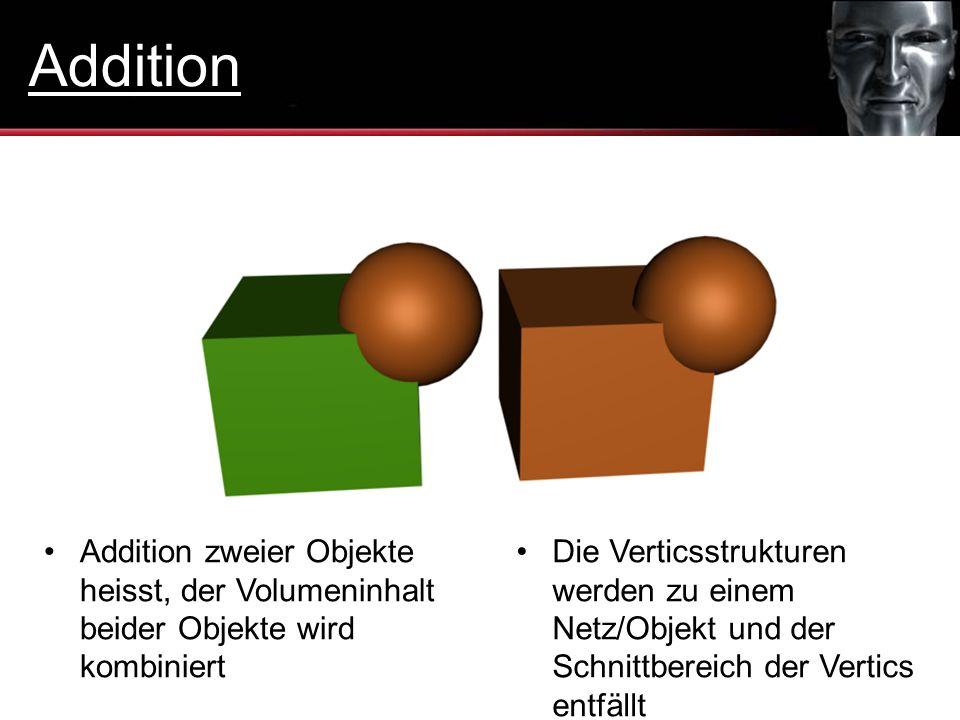 Addition zweier Objekte heisst, der Volumeninhalt beider Objekte wird kombiniert Die Verticsstrukturen werden zu einem Netz/Objekt und der Schnittbere