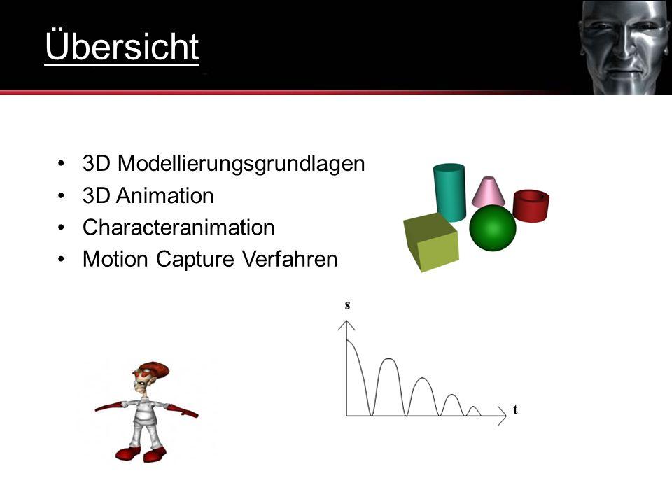 3D Modellierungsgrundlagen 3D Animation Characteranimation Motion Capture Verfahren Übersicht