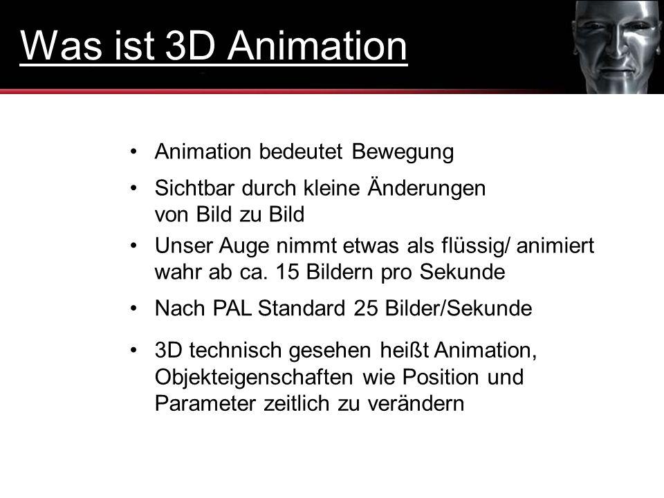 Sichtbar durch kleine Änderungen von Bild zu Bild Animation bedeutet Bewegung Nach PAL Standard 25 Bilder/Sekunde Unser Auge nimmt etwas als flüssig/
