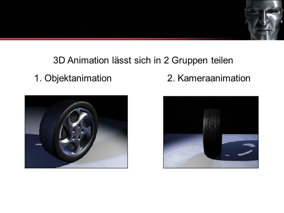 1. Objektanimation Was ist 3D Animation 3D Animation lässt sich in 2 Gruppen teilen 2. Kameraanimation