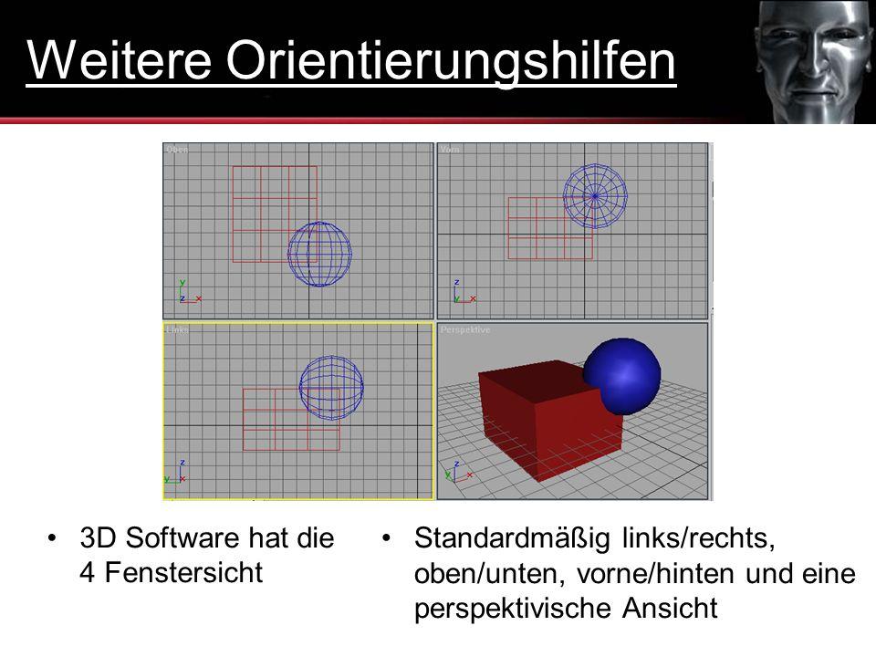Standardmäßig links/rechts, oben/unten, vorne/hinten und eine perspektivische Ansicht 3D Software hat die 4 Fenstersicht Weitere Orientierungshilfen