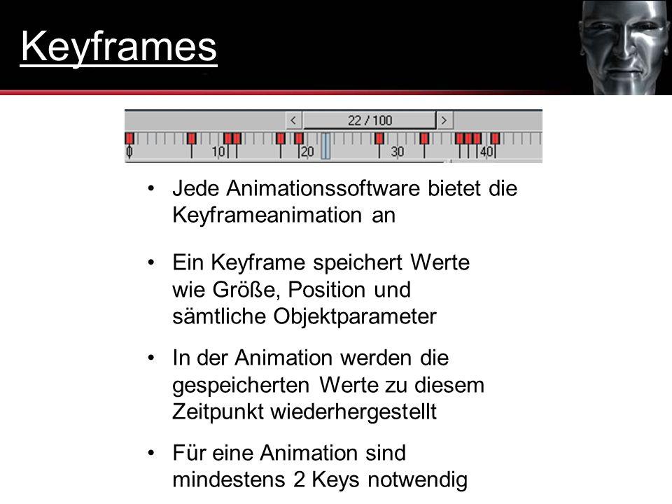 In der Animation werden die gespeicherten Werte zu diesem Zeitpunkt wiederhergestellt Ein Keyframe speichert Werte wie Größe, Position und sämtliche O