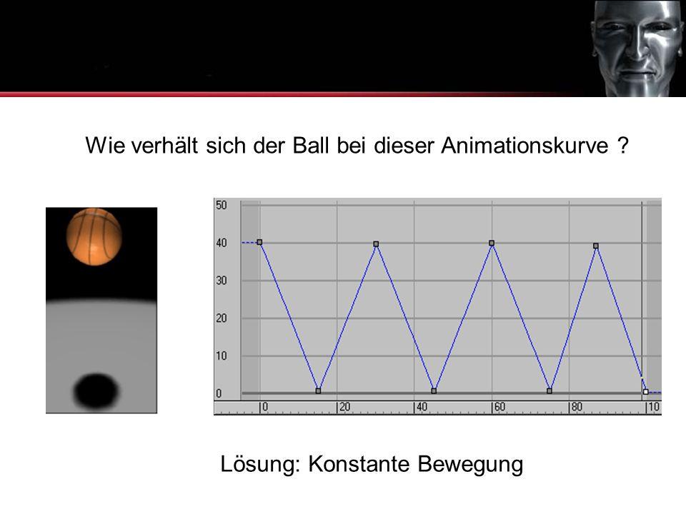 Animationskurven Wie verhält sich der Ball bei dieser Animationskurve ? Lösung: Konstante Bewegung