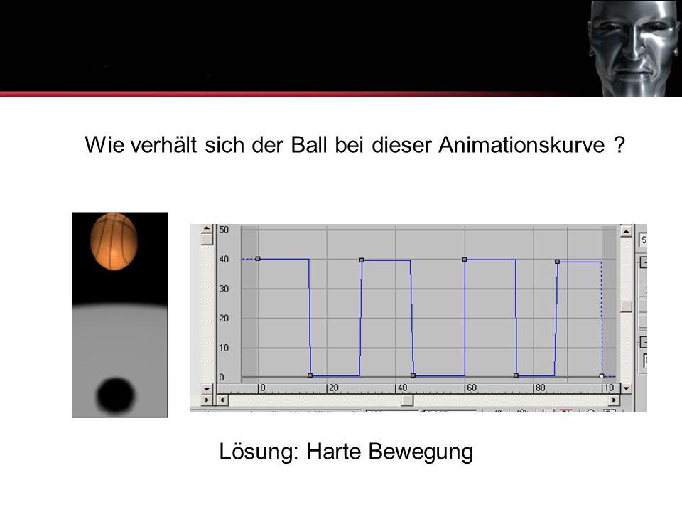 Wie verhält sich der Ball bei dieser Animationskurve ? Animationskurven Lösung: Harte Bewegung