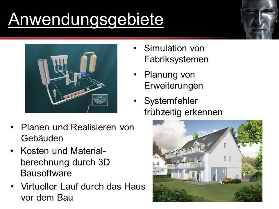 Simulation von Fabriksystemen Planung von Erweiterungen Systemfehler frühzeitig erkennen Planen und Realisieren von Gebäuden Kosten und Material- bere