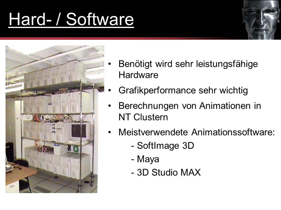 Benötigt wird sehr leistungsfähige Hardware Berechnungen von Animationen in NT Clustern Meistverwendete Animationssoftware: - SoftImage 3D - Maya - 3D