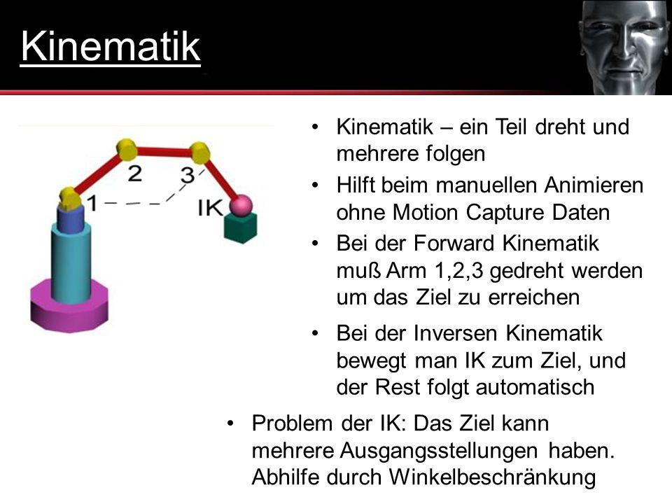 Kinematik – ein Teil dreht und mehrere folgen Bei der Inversen Kinematik bewegt man IK zum Ziel, und der Rest folgt automatisch Hilft beim manuellen A