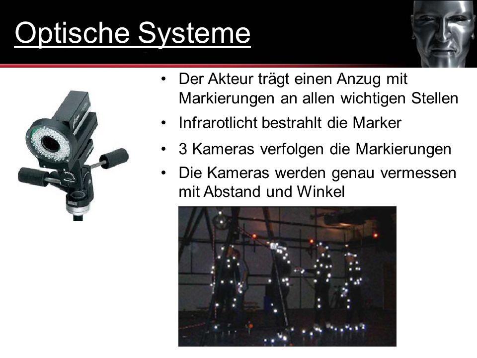 3 Kameras verfolgen die Markierungen Infrarotlicht bestrahlt die Marker Der Akteur trägt einen Anzug mit Markierungen an allen wichtigen Stellen Die K