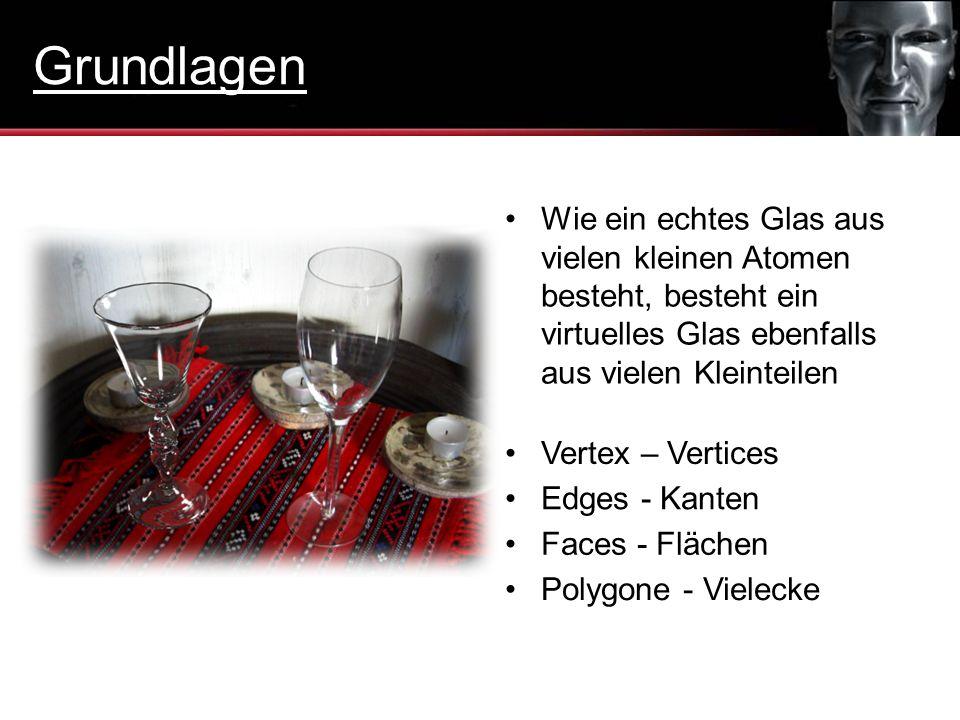Edges - Kanten Wie ein echtes Glas aus vielen kleinen Atomen besteht, besteht ein virtuelles Glas ebenfalls aus vielen Kleinteilen Vertex – Vertices F
