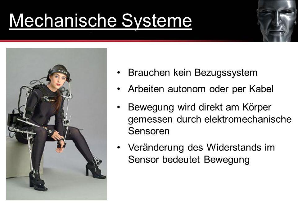 Brauchen kein Bezugssystem Arbeiten autonom oder per Kabel Bewegung wird direkt am Körper gemessen durch elektromechanische Sensoren Veränderung des W