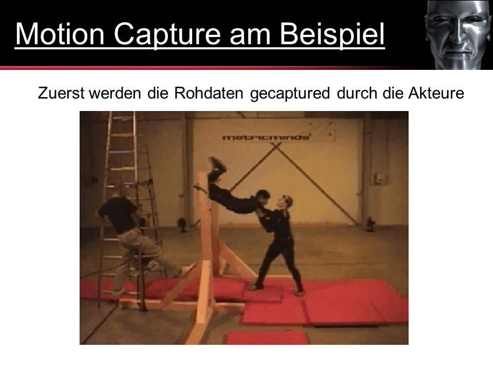 Zuerst werden die Rohdaten gecaptured durch die Akteure Motion Capture am Beispiel