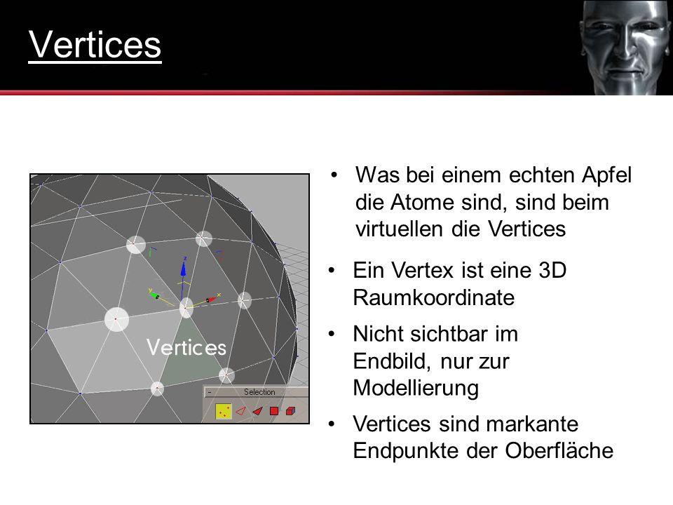 Was bei einem echten Apfel die Atome sind, sind beim virtuellen die Vertices Ein Vertex ist eine 3D Raumkoordinate Nicht sichtbar im Endbild, nur zur