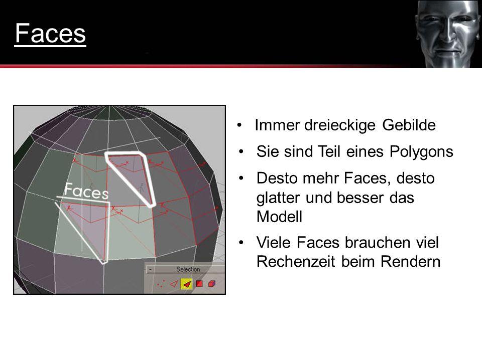 Immer dreieckige Gebilde Sie sind Teil eines Polygons Desto mehr Faces, desto glatter und besser das Modell Viele Faces brauchen viel Rechenzeit beim