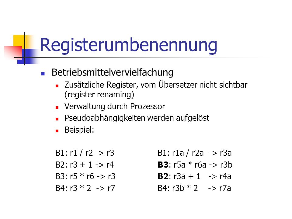 Registerumbenennung Betriebsmittelvervielfachung Zusätzliche Register, vom Übersetzer nicht sichtbar (register renaming) Verwaltung durch Prozessor Ps