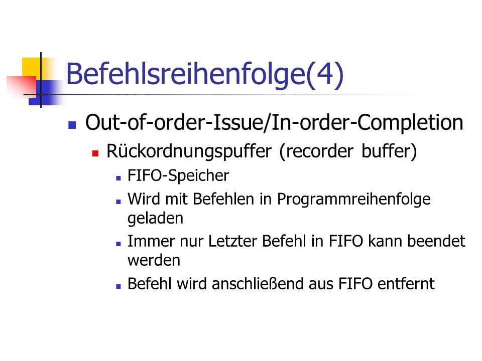 Befehlsreihenfolge(4) Out-of-order-Issue/In-order-Completion Rückordnungspuffer (recorder buffer) FIFO-Speicher Wird mit Befehlen in Programmreihenfol