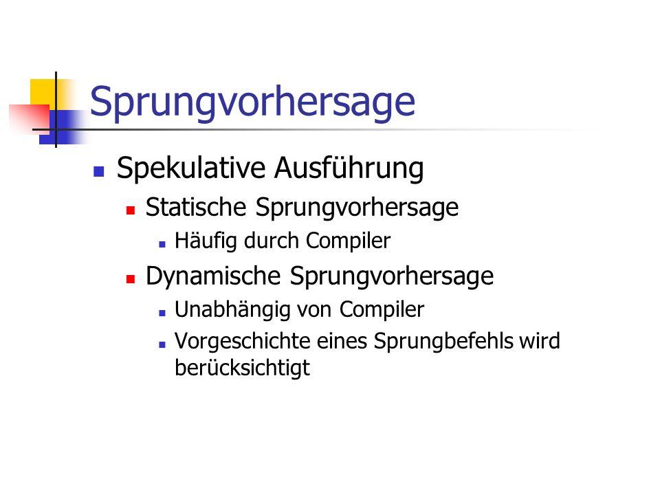 Sprungvorhersage Spekulative Ausführung Statische Sprungvorhersage Häufig durch Compiler Dynamische Sprungvorhersage Unabhängig von Compiler Vorgeschi