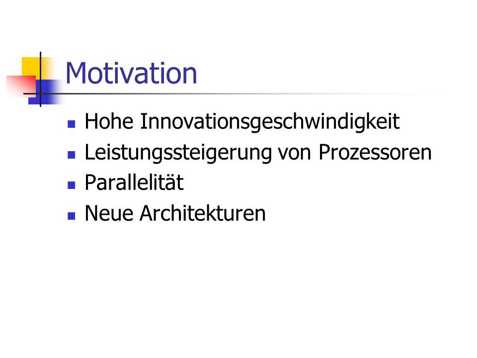 Motivation Hohe Innovationsgeschwindigkeit Leistungssteigerung von Prozessoren Parallelität Neue Architekturen