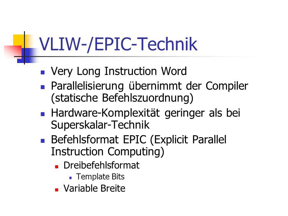 VLIW-/EPIC-Technik Very Long Instruction Word Parallelisierung übernimmt der Compiler (statische Befehlszuordnung) Hardware-Komplexität geringer als b