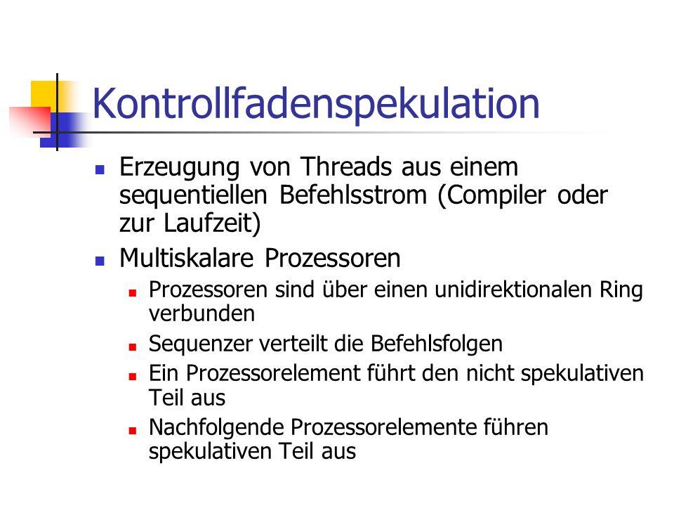 Kontrollfadenspekulation Erzeugung von Threads aus einem sequentiellen Befehlsstrom (Compiler oder zur Laufzeit) Multiskalare Prozessoren Prozessoren