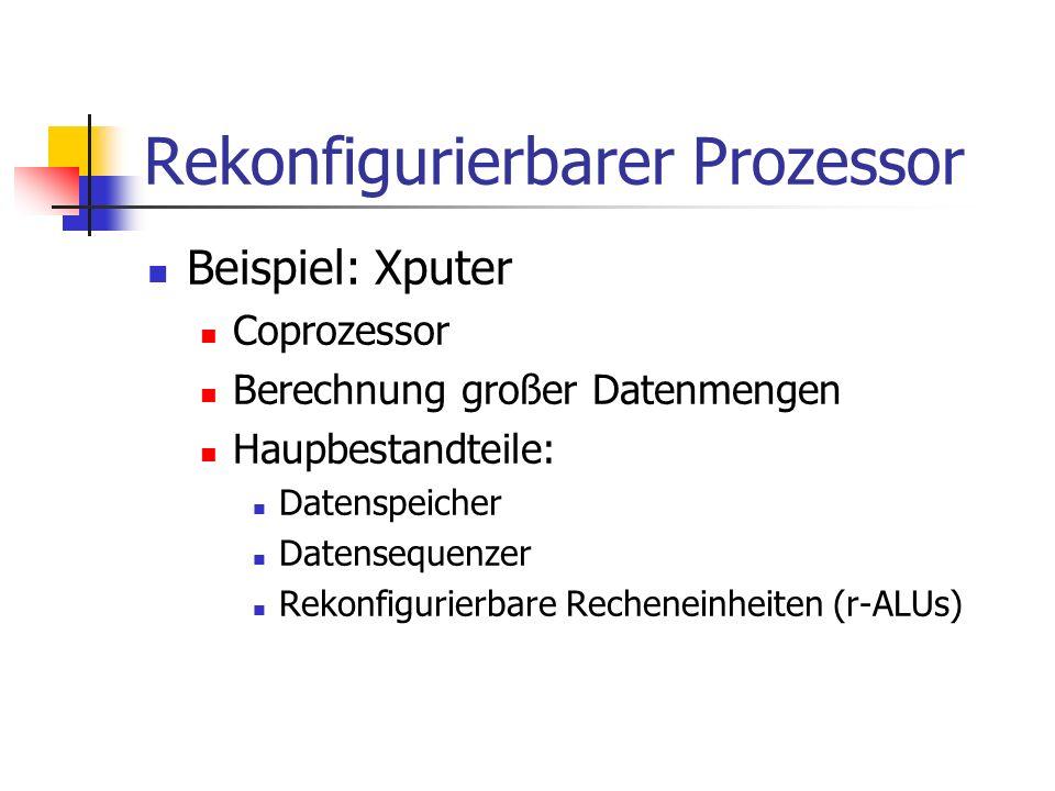 Rekonfigurierbarer Prozessor Beispiel: Xputer Coprozessor Berechnung großer Datenmengen Haupbestandteile: Datenspeicher Datensequenzer Rekonfigurierba